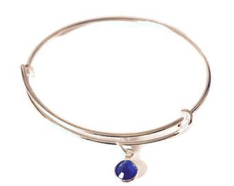 Sterling silver Birthstone charm bangle/gifts/birthdays/weddings/bridesmaid/friendship/Handmade
