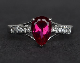 ruby ring silver red ruby engagement rings anniversary rings pear cut July birthstone ring