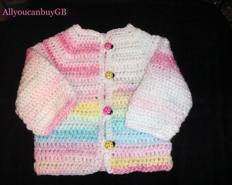 Hand Crochet Baby sweater (6-9 months.) Acrylic cardigan for baby. Handmade baby sweater.