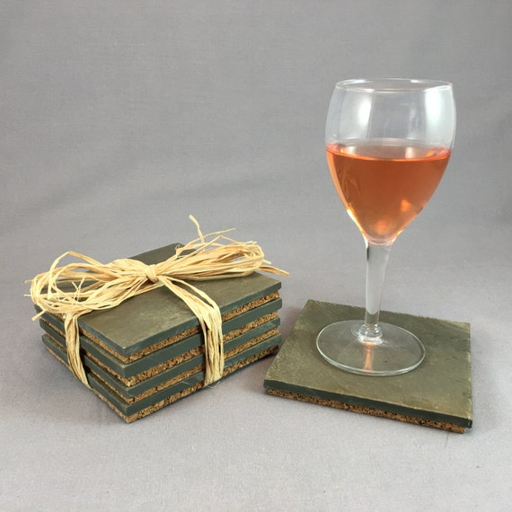 Upcycled roofing slate coasters set of 4 - Slate drink coasters ...