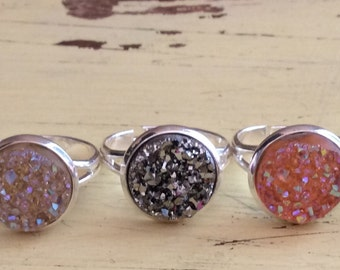 12mm- adjustable druzy ring available in any color