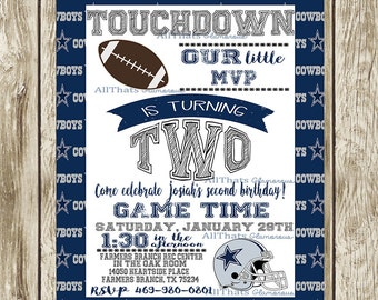 Dallas Cowboys Sports Birthday Party Invitation Football Printable Digital 1st Birthday NFL