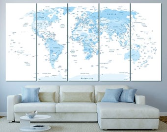 Large Blue highly detailed world map with countries and cities, blue push pin world map canvas print, push pin world travel map with cities