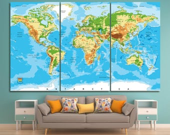 Large atlas world map print set of 3 or 5 panels,  world map with countries, push pin world map classic world map detailed world map canvas