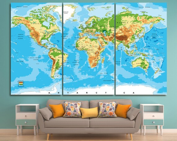 Large Atlas World Map Print Set Of 3 Or 5 Panels World Map