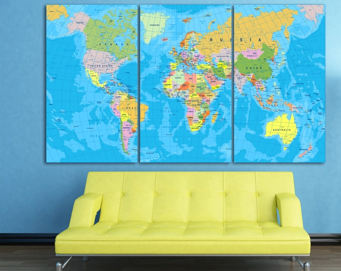Colorful World Political Map Canvas Print, Labeled World Map, Large detailed map of the world, map wall art, detailed world map with borders