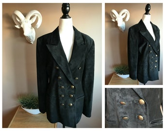 Vintage Suede Blazer Double Breasted with Brass Buttons // Retro Boyfriend Blazer // Military Jacket // 1980s Double Breasted Blazer
