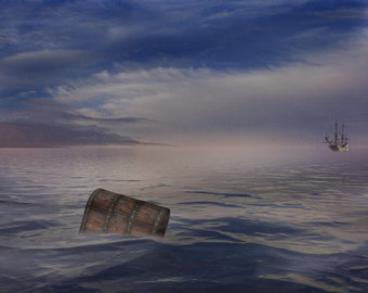 Lost at Sea, Digital Backdrop, High Resolution, Instant Download.