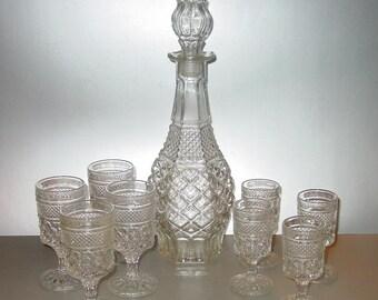 Anchor Hocking Wexford Wine Decanter (8) Glasses Set Vintage Barware