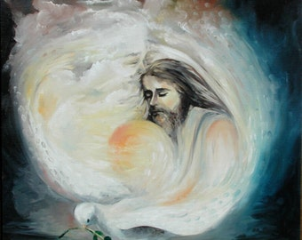 """Vintage original  lithograph of """"The Trinity""""  printed in the mid 70's  from a oil  painting I painted describing my faith in God."""