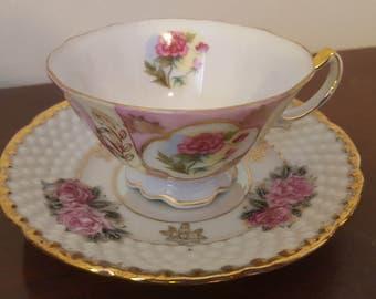 ON SALE, Ucagco Cup Saucer, Ucagco China, Ucagco Porcelain, Lusterware Teacup, Demitasse Teacup, Pink Teacup, Vintage Teacup, Small Teacup