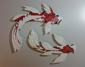 Fancy Textured Medium and Large Red, White, & Black Speckled Ceramic Koi Tile Pair for Mosaic