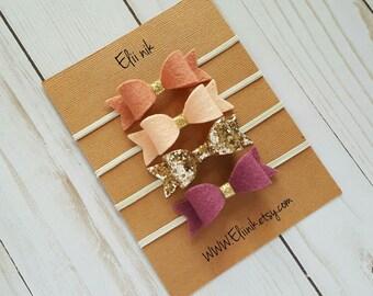 Baby headband set, Newborn headband set, bow headband, felt bow headband, gold bow headband, infant headband