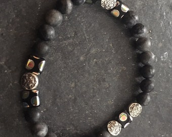 Black Czech beads with marbled black/gray ceramic beaded stretchy bracelet