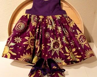 Purple Sun Moon and Stars Indian Batik Infant Dress & Booties