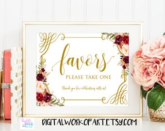 Wedding Favors Sign Printable, Floral Wedding Sign, Favors, Love is Sweet, Colorful Floral Wedding Decor,Favor Table,Reception Sign,boho #LC