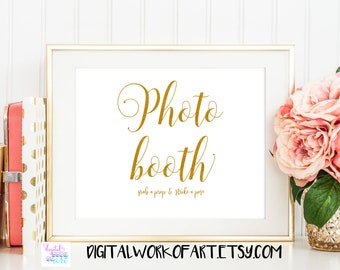 Wedding Photo Booth Sign, Photo Guest Book sign, Photo Booth Printable,Guestbook Table Sign,Printable Wedding Sign,Instant Download gold #SG