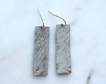 Hair-On Gold Speckle Leather Bar Drop Earrings