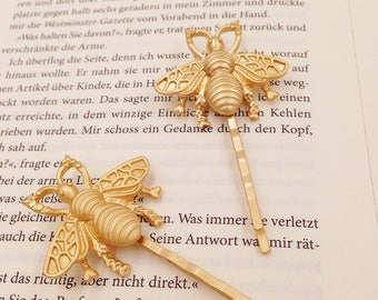 """2 pieces """"Bee"""" gold hairpins, hairclips, hairclips, hair jewelry mat"""