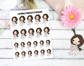 Happy Mail - Brown Hair Girl Character - Planner Stickers