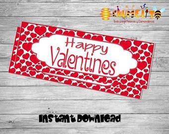 Valentines Gifts- Valentines Day- Valentines Decor- Happy Valentines Day - Printable Valentines Bag topper-Valentines Day favor
