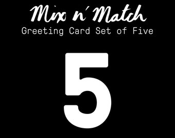 Set of 5 Greeting Cards / Mix and Match / Made in Hawaii