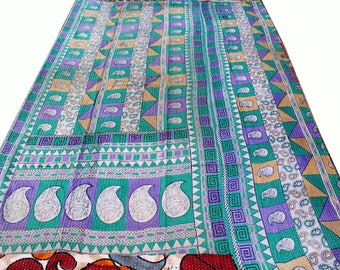 VINTAGE KANTHA QUILTS Sari Blanket Bohemian Ethnic Indian Throw Cotton Bedspread Coverlet Reversible Quilt Indian Bedspread Beach Blanket!