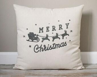 Merry Christmas Pillow | Santa Pillow | Reindeer Pillow | Holiday Pillow | Christmas Gift | Rustic Decor | Holiday Decor | Christmas Decor