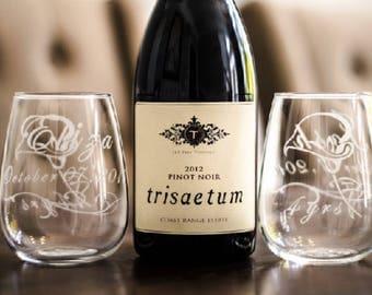 3 Custom Etched Stemless Wine Glass