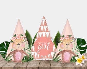 Little Monkey Girl Printable Party Hats