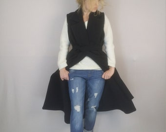 Fall  Coat, Black Wool Coat, Sleeveless Coat, Long Jacket, Blazer Coat, Winter Coat, Fall Clothing, Warm Coat, White Coat