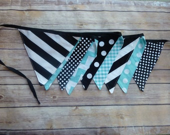Black and Aqua Banner, Birthday Party Decoration, Bunting, Fabric Banner, Flags, Photography Prop, Garland , Chevron, Dots