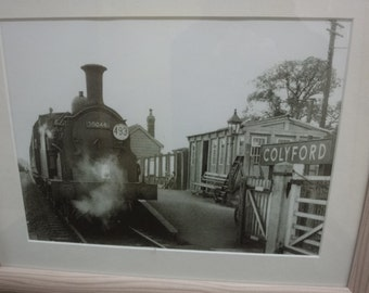 """Framed Print of art deco black & white """"colyford train"""" size 42cmx35cm ready to hang"""
