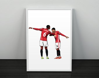 Pogba & Lingard Dab Celebration - Manchester United Poster (White Background)