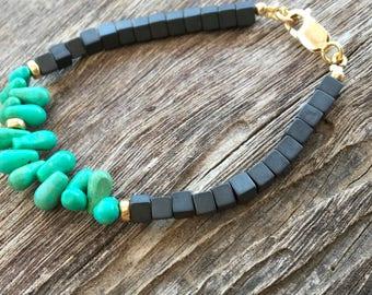 Hematite bracelet, Green turquoise bracelet, Black hematite bracelet, Turquoise gemstone, Hematite gemstone, Square hematite bracelet,