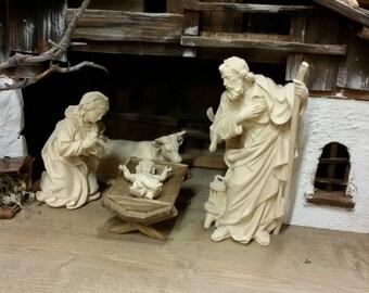 Nativity sculpture Wood of Gardena art Christmas Manger Nativity Christmas Nativity Holy Family sculpture signed ZULIAN woodcarving