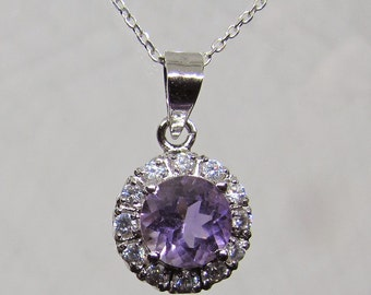 Sterling Silver accented with amethyst and white zirconia necklace