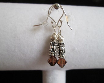 Bali Style Sterling Silver and Brown Crystal Earrings