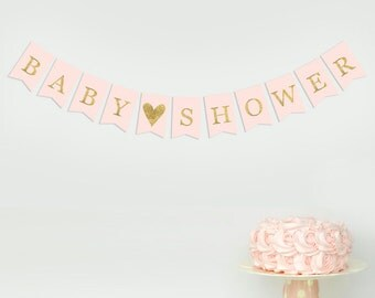 Baby Shower Garland Banner Bunting Gold Pink Girl Decorations