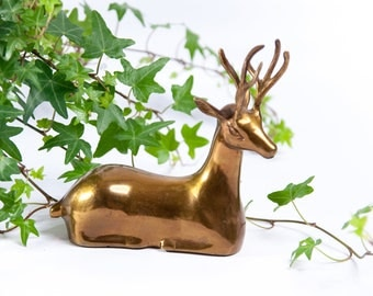 metal deer figurine etsy. Black Bedroom Furniture Sets. Home Design Ideas