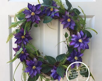 Purple Wreath, Wreath Street Floral, Grapevine Wreath, Summer Wreath, Front Door Wreath, Everyday Wreath, Year Round Wreath, Door Wreath