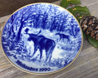 A Moose Have Weihnachten Vintage German Christmas Plate Moose Woodland Scene Porcelain Collectible Decorative Wall Plate Shipping Included