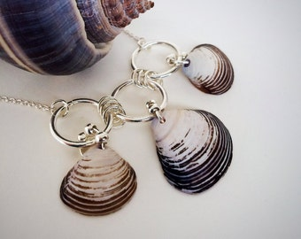 Triple Seashell Silver Pendant Necklace, Black and White Necklace, Made by Sea, Beach Jewelry, Minimalist Boho, Valentine's Gift for Her
