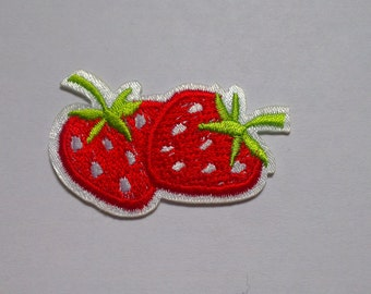 Strawberries Iron on Applique, Two Red Strawberries Iron on Patch, Fruit Strawberry Iron-on Application