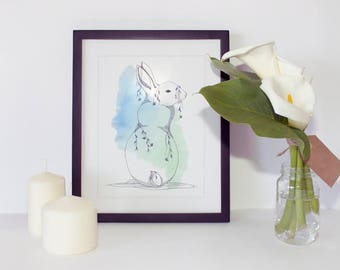 Animal illustration - Bunny print - Animal art print - Watercolor illustration - Printable wall art - Digital print - Wall art print —