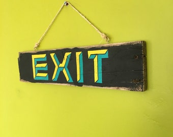 Wooden Hanging Exit Sign