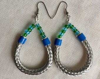 Silver Hoop earrings/ Silver dangle hoop with blue green accents/ aqua blue and Kelly green seed bead/handmade earrings