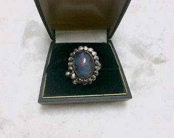 Vintage dark opal and silver ring
