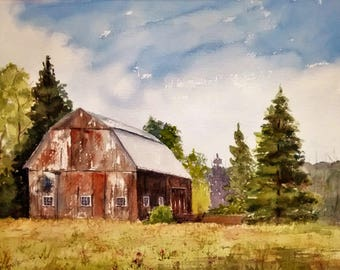 Print of Original Watercolor Painting, Barn, Weathered Barn, Farm, New England Landscape Watercolor, Rural Landscape, Old Barn