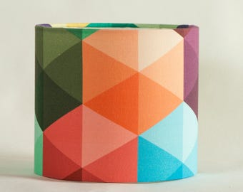 modern lampshade with geometric print, multicolor, modern lamp shade, triangle